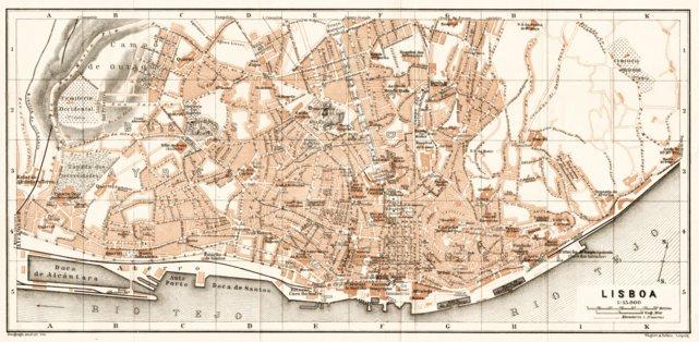 Lisbon City Map, 1911