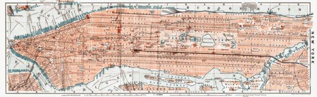 New York (Manhattan) Map, 1909