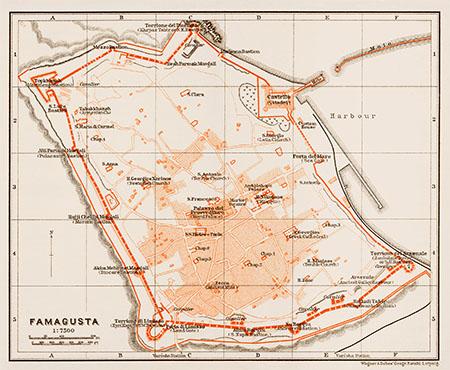 Famagusta City Map 1914 Waldin Avenza Maps