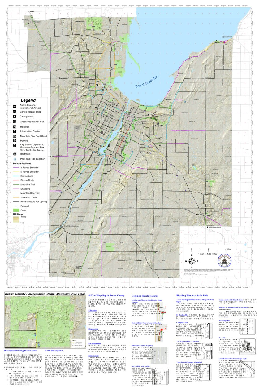 Brown County Bicycle Map County Wide Brown County WI Avenza Maps