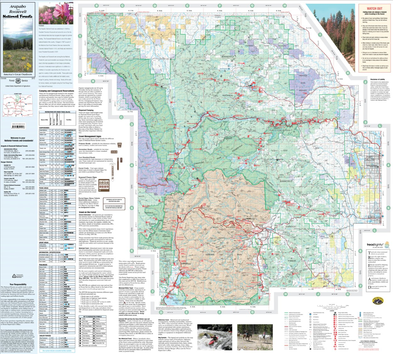 Arapaho and Roosevelt National Forests Visitor Map (North) - US ...