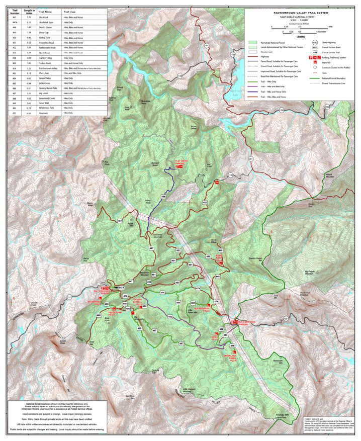 Panthertown Trails Map - US Forest Service R8 - Avenza Maps on
