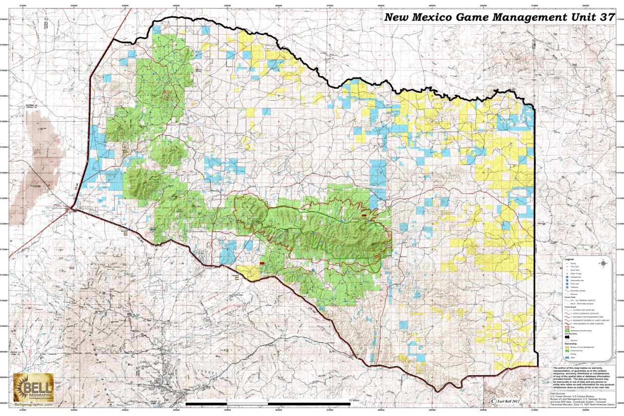 New Mexico On World Map.New Mexico Game Management Unit 37 Bell Geographic Avenza Maps