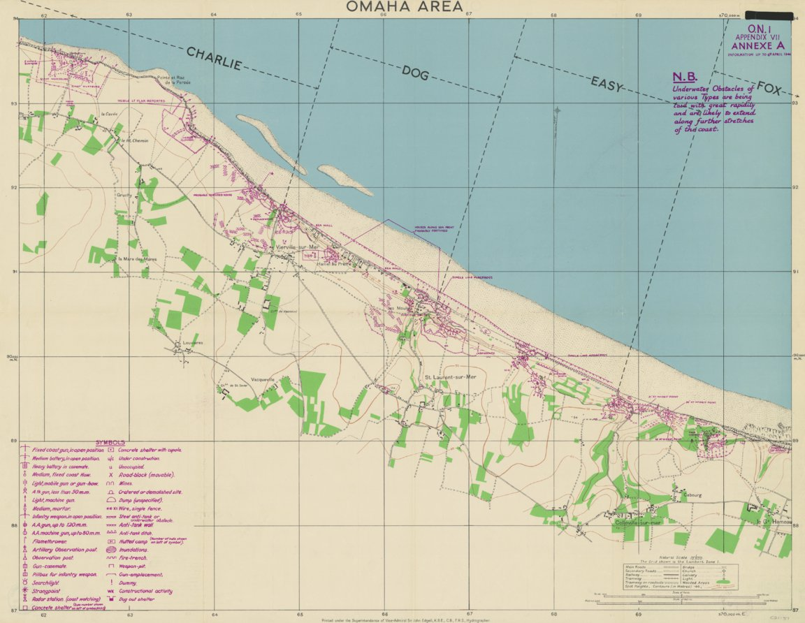 Omaha Beach Map D Day Historical Map, Omaha Beach   XYZ Maps   Avenza Maps