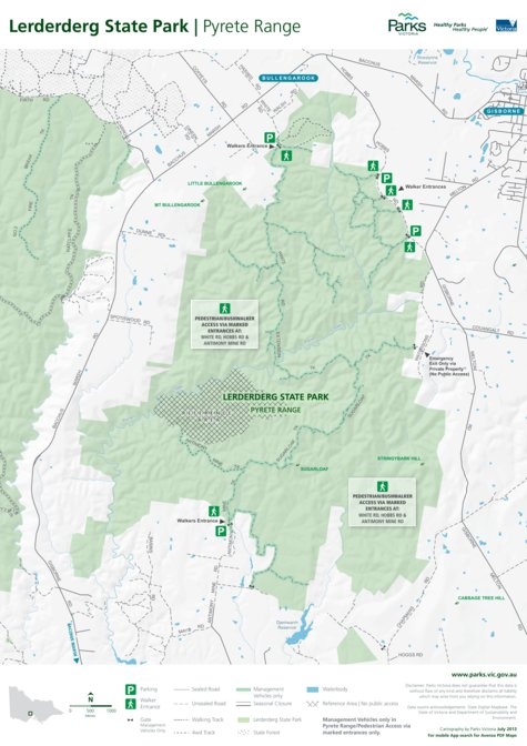 Lerderderg State Park Map Lerderderg State Park   Pyrete Range Visitor Guide   Parks  Lerderderg State Park Map