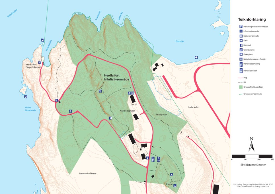 herdla kart Kart Herdla fort friluftslivsområde   Bergen og Omland Friluftsråd  herdla kart