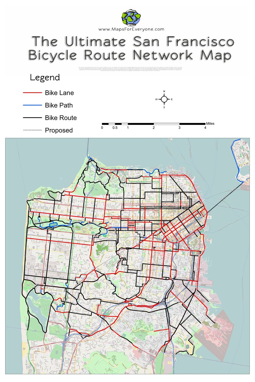 The Ultimate San Francisco Bicycle Route Network Map Maps For - San francisco bike map