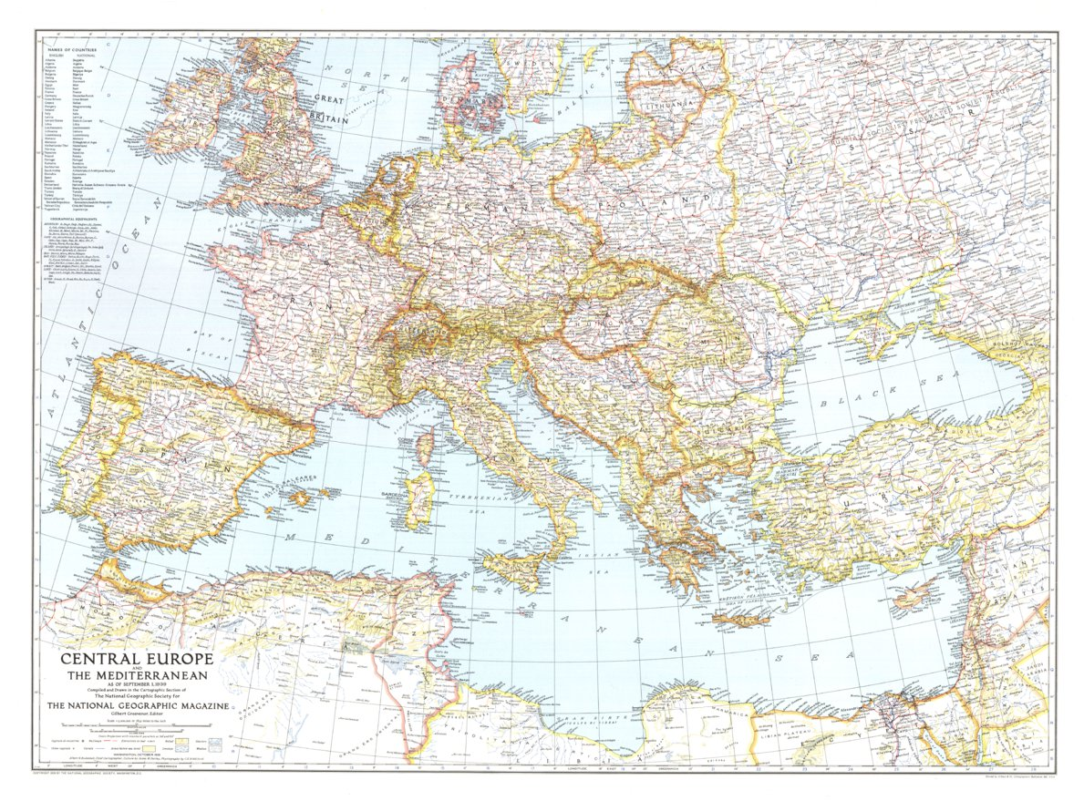 map of central europe 1939 Central Europe And The Mediterranean 1939   National Geographic