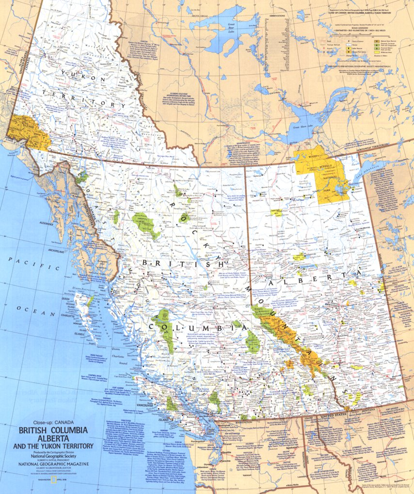 Map Of Bc And Alberta Canada British Columbia, Alberta & The Yukon Territory   National