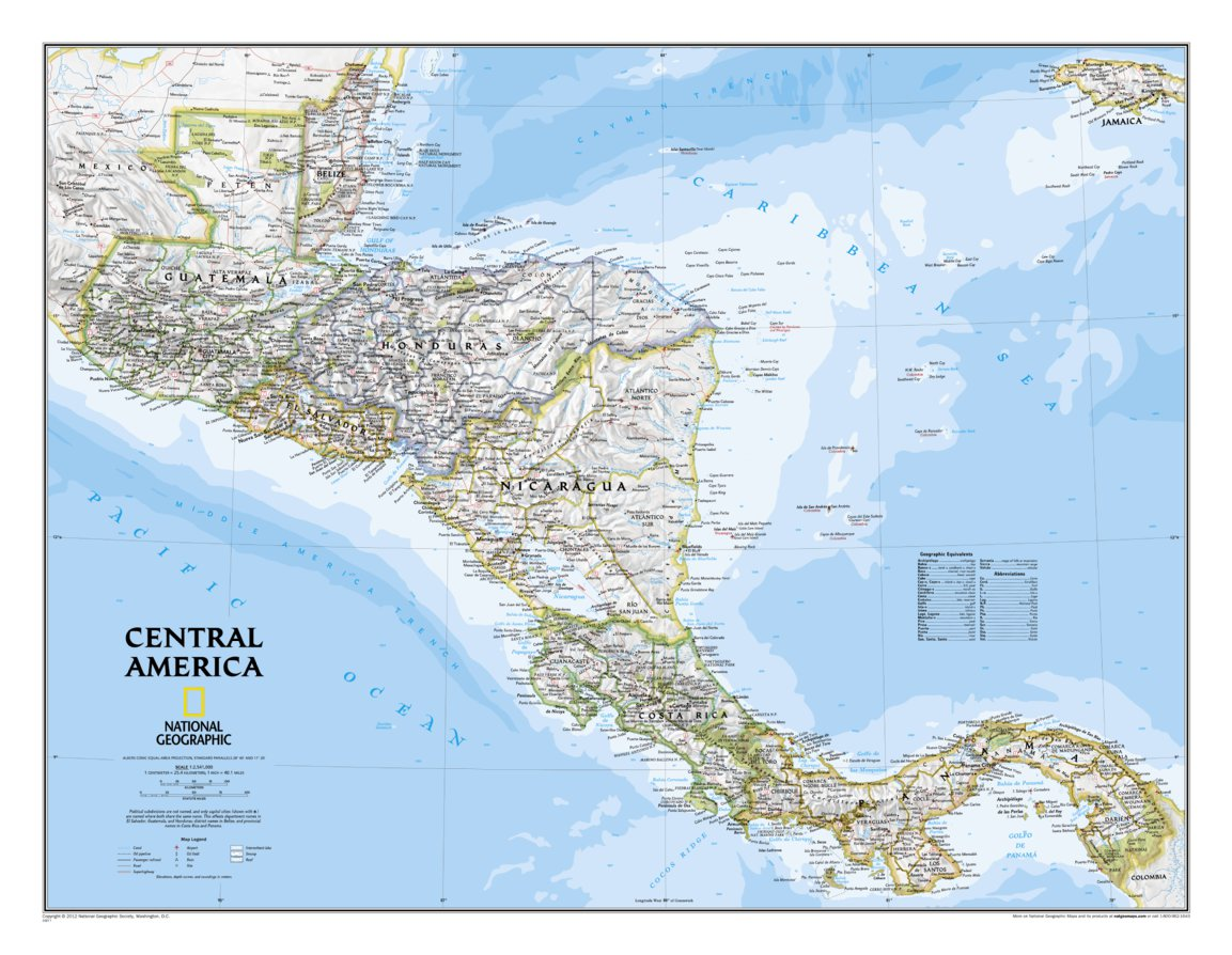 Central America Classic National Geographic Avenza Maps