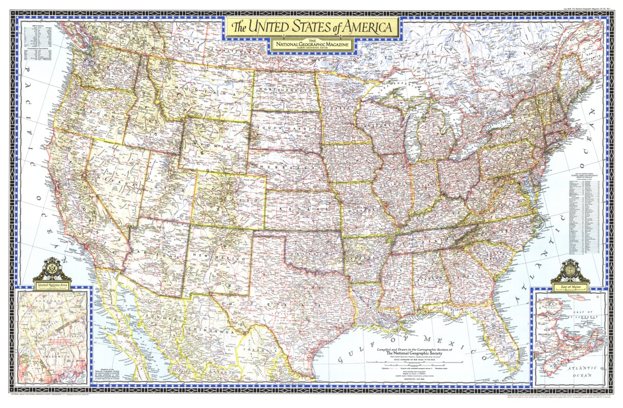 United States Of America 1946 National Geographic Avenza Maps