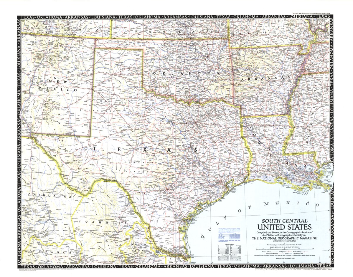 Map Of Texas And Louisiana Border.South Central United States Map 1947 National Geographic Avenza Maps