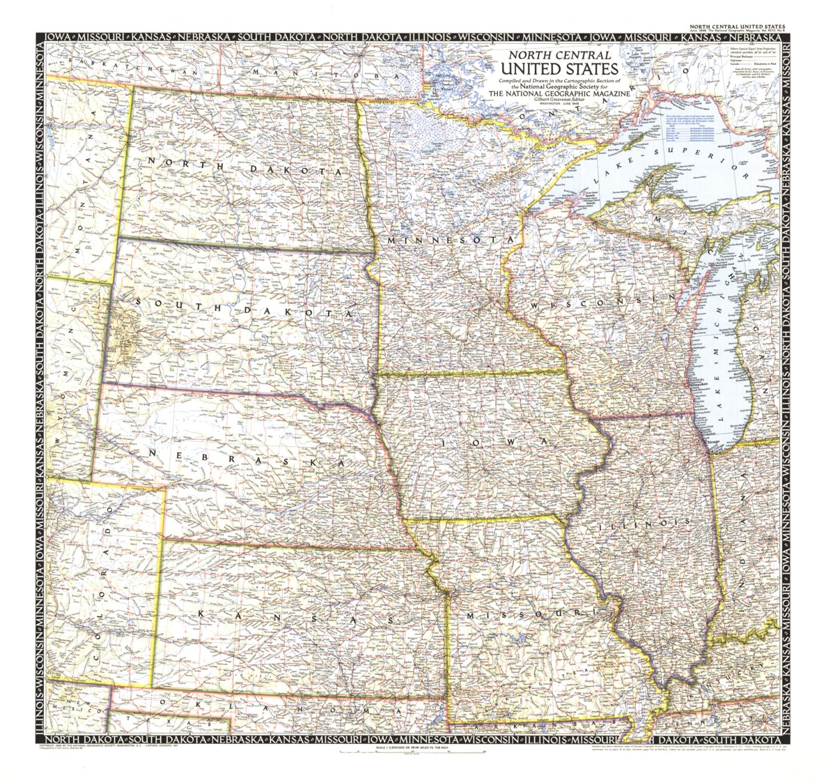 North Central United States Map 1948 - National Geographic - Avenza Maps