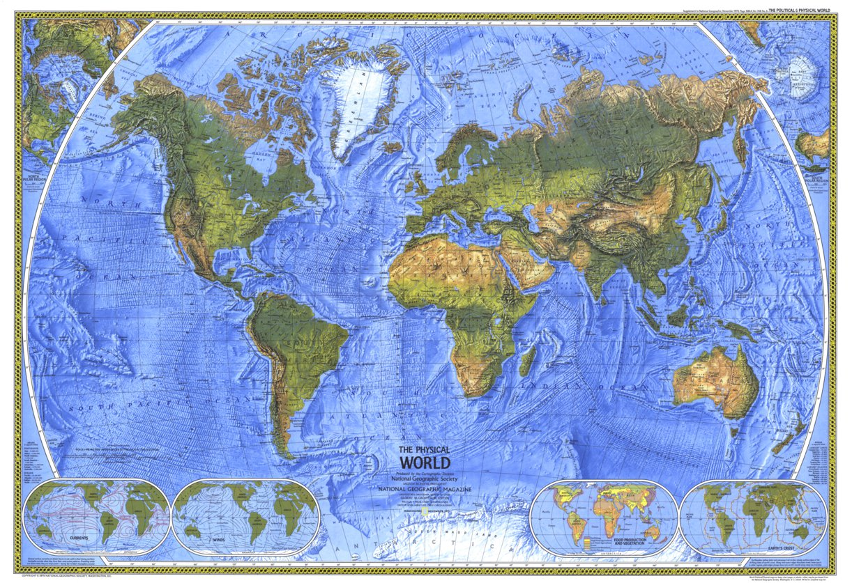 Image of: Physical World 1975 National Geographic Avenza Maps