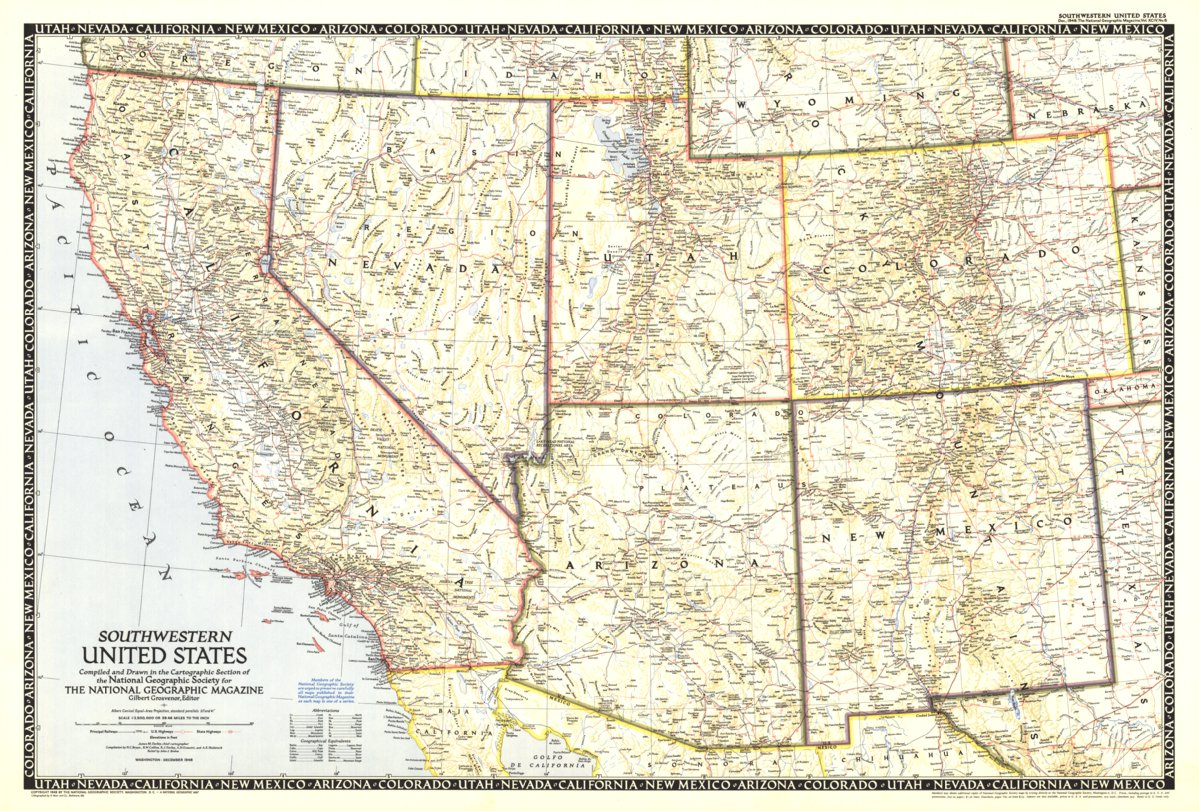 Southwestern United States 1948 National Geographic Avenza Maps - National-geographic-us-map