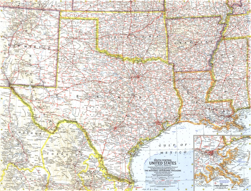 South Central United States 1961 - National Geographic - Avenza Maps