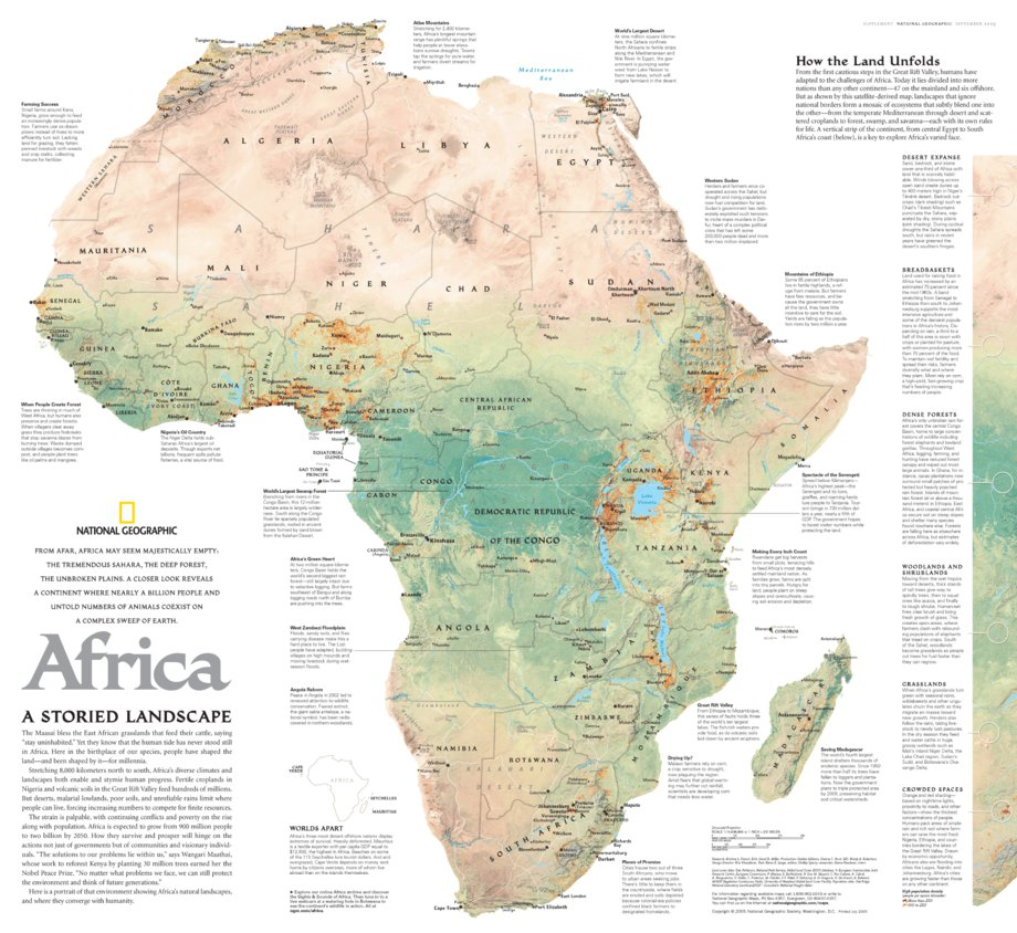 Map Of Africa 2005 Africa: A Storied Landscape 2005   National Geographic   Avenza Maps