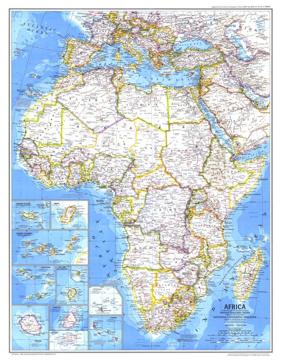 Map Of Africa 1980 Africa 1980   National Geographic   Avenza Maps