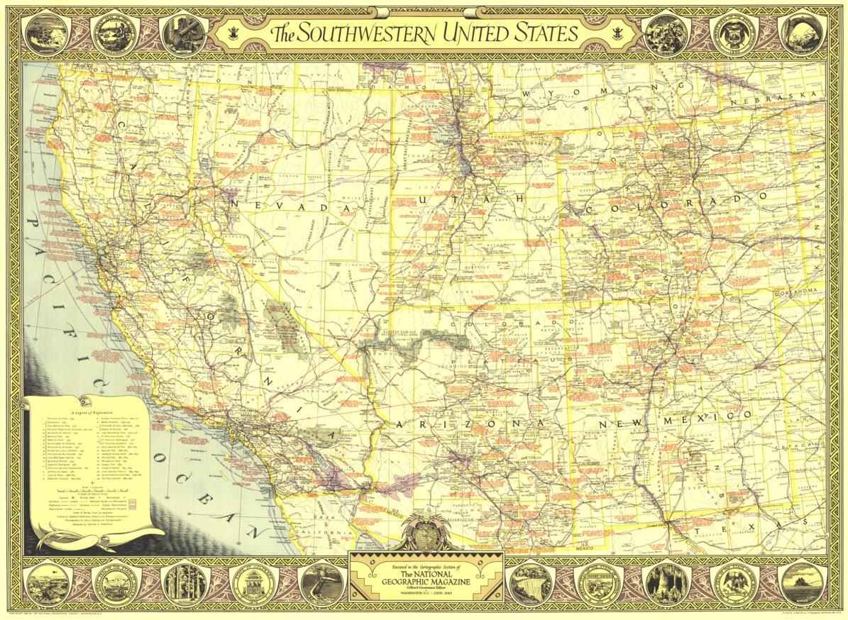Southwestern United States Map 1940 - National Geographic - Avenza Maps