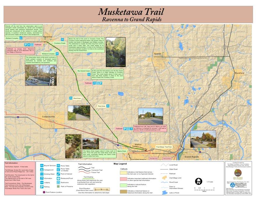 Musketawa Trail from Ravenna to Grand Rapids Map West Michigan