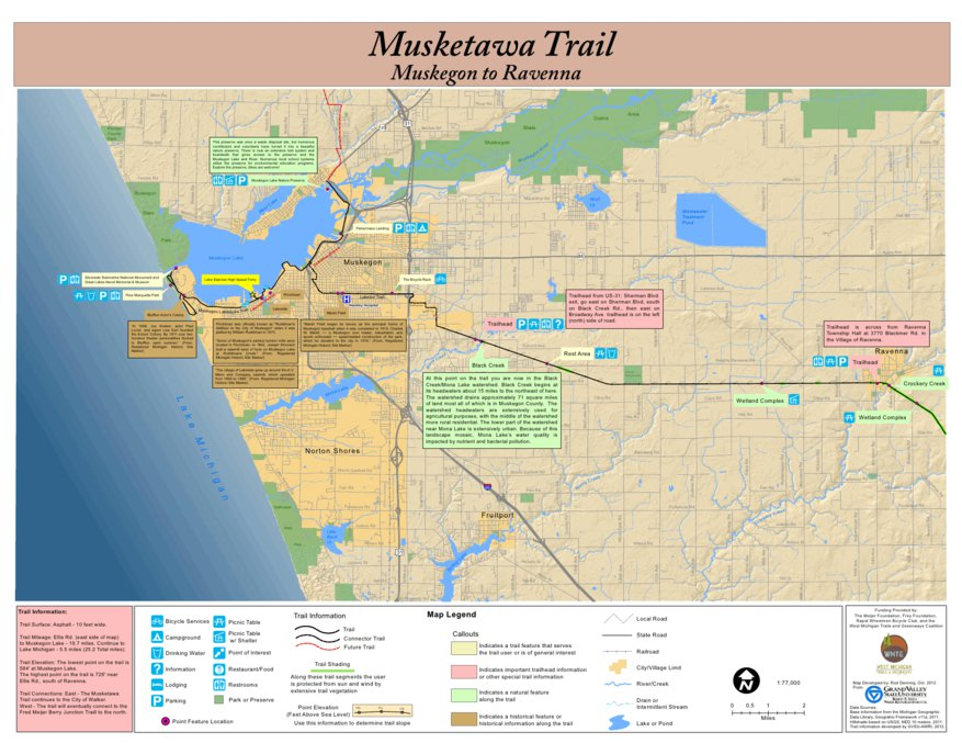 Musketawa Trail from Muskegon to Ravenna Map West Michigan Trails