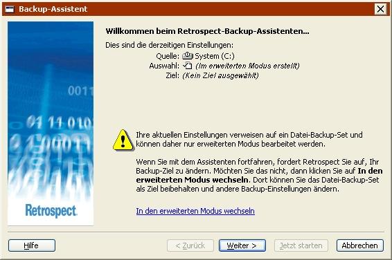 Retrospect: Windows Benutzerhandbuch > Manuelle Vorgänge