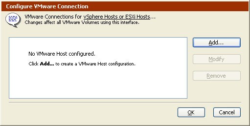 VMware Connection Information Dialog