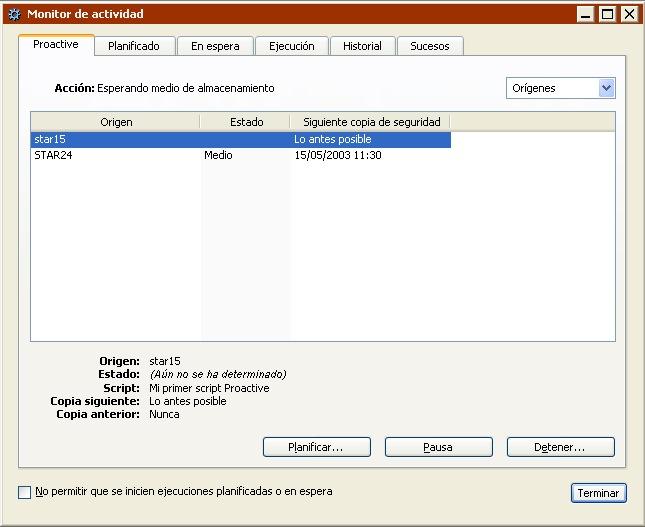 Retrospect: Guía del usuario para Windows > Control de las operaciones