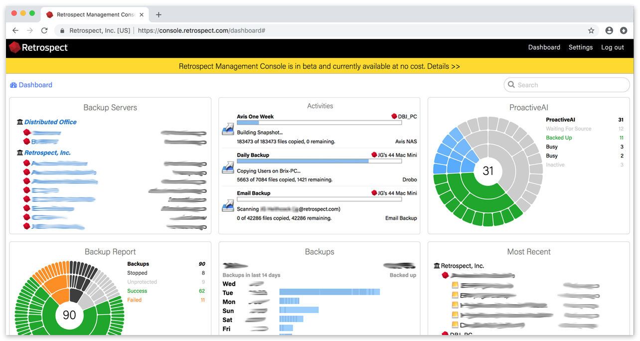 Management console dashboard
