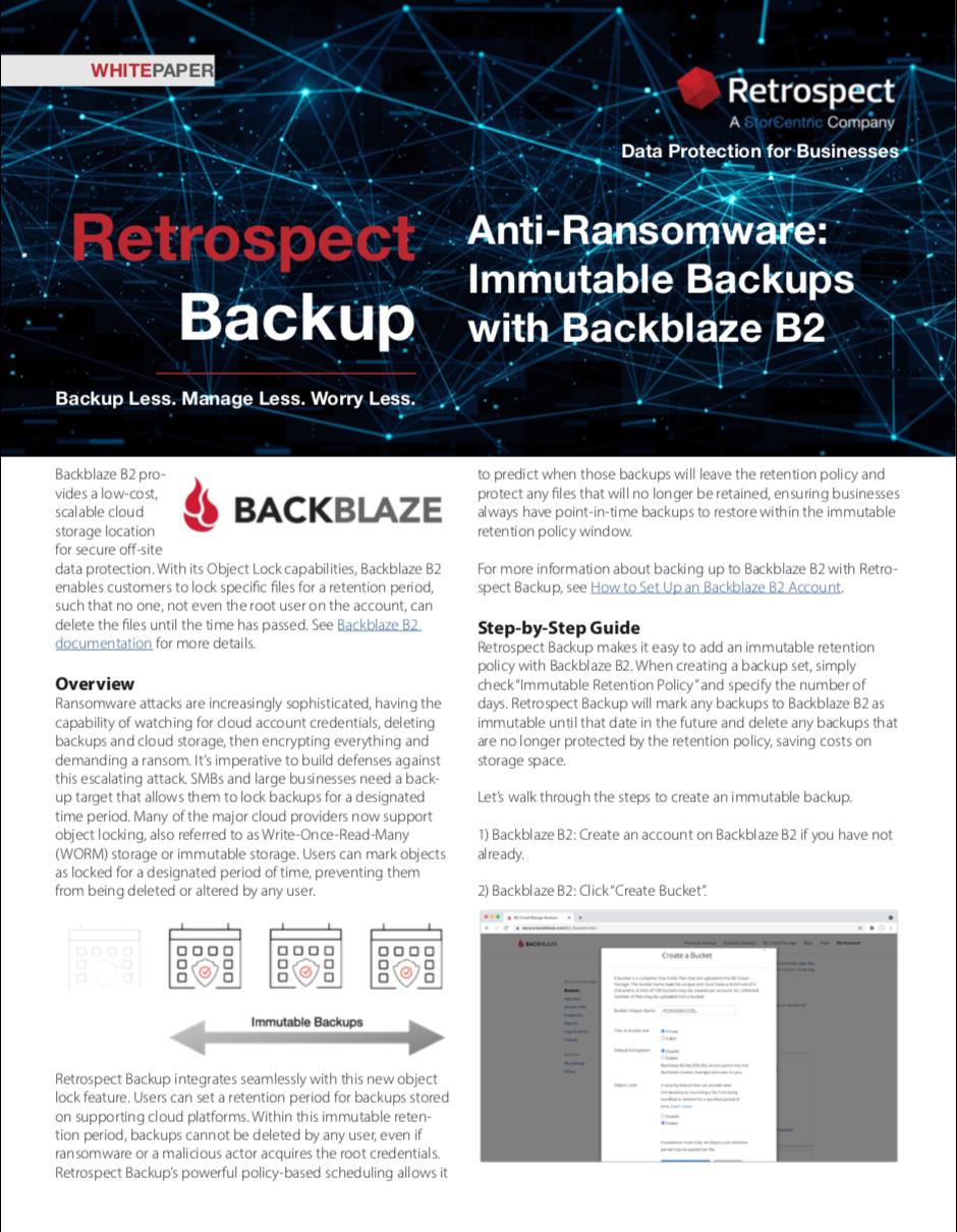 Retrospect+backup+ +white+paper+ +immutable+backups+on+backblaze+b2