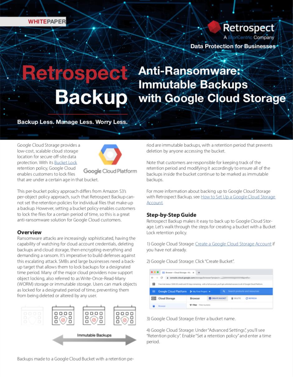 Retrospect+backup+ +white+paper+ +immutable+backups+on+google+cloud+storage
