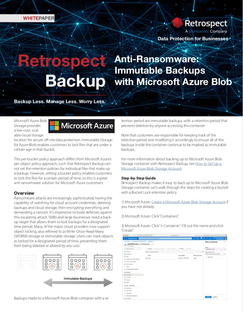 Retrospect+backup+ +white+paper+ +immutable+backups+on+microsoft+azure+blob