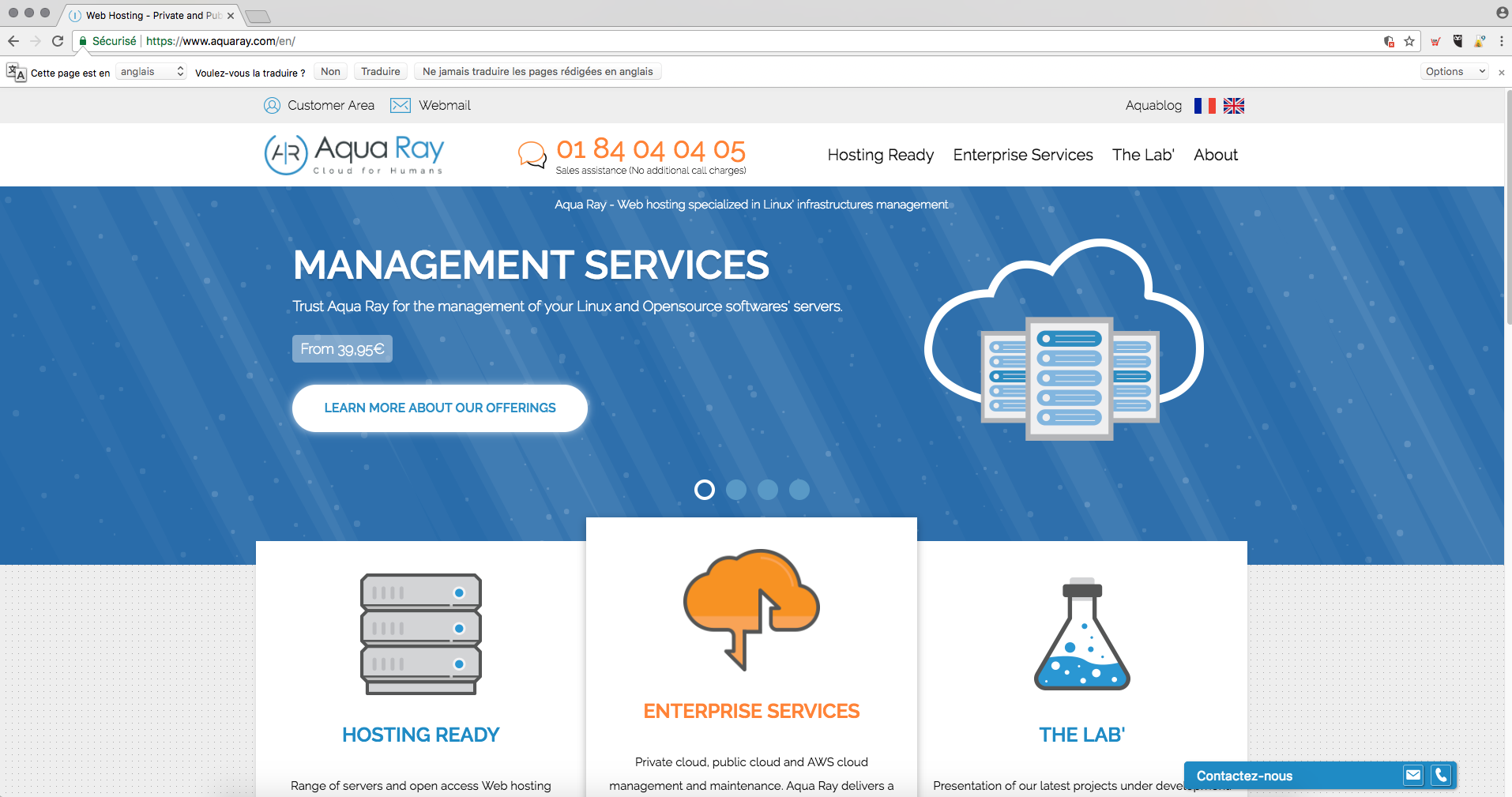 Aquaray homepage