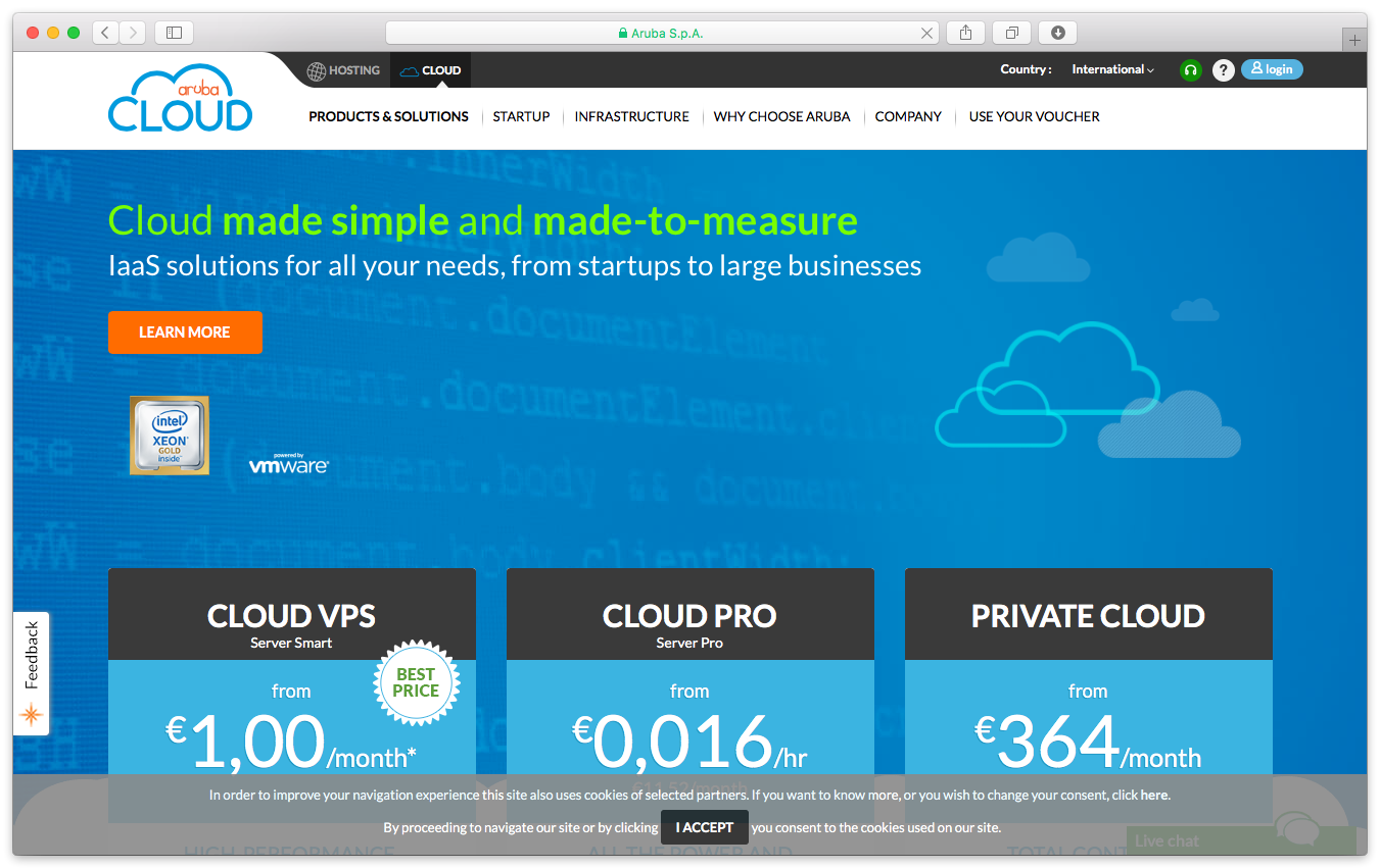 Arubacloud homepage