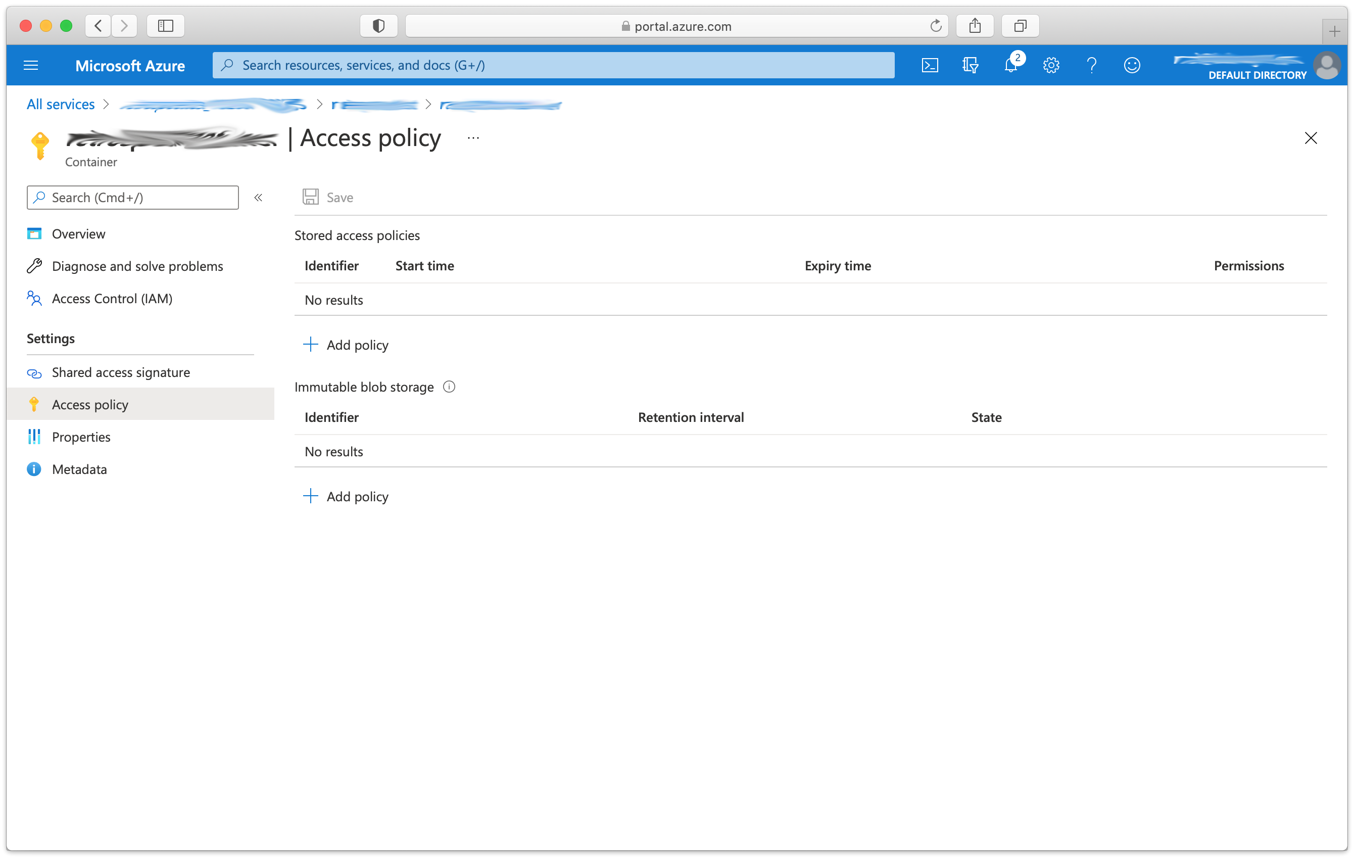10 azure container access policy