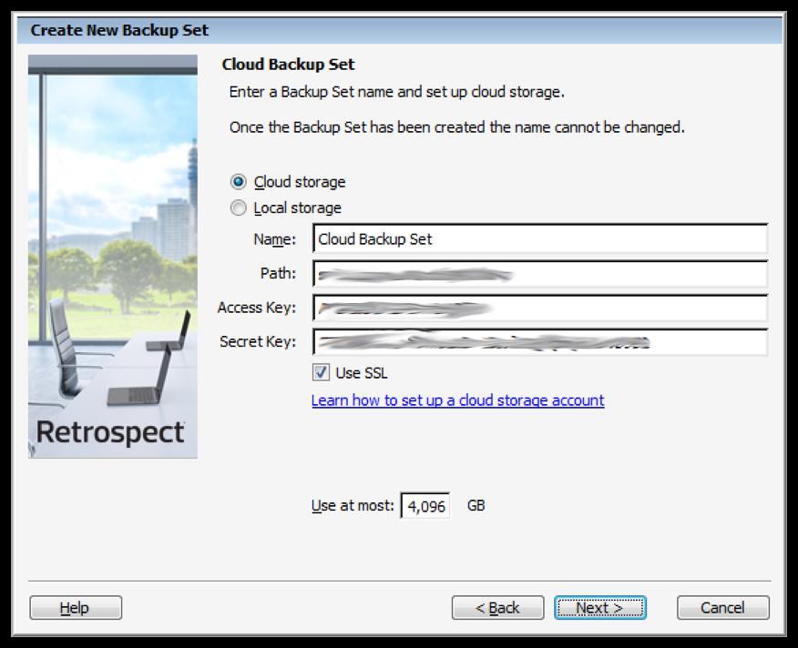 Cloud backup settings win