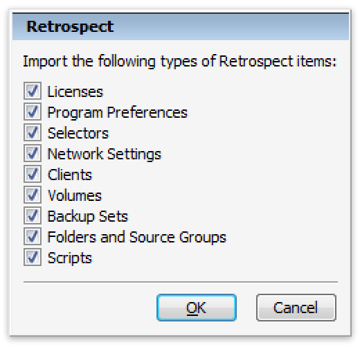 Configs win import4 options