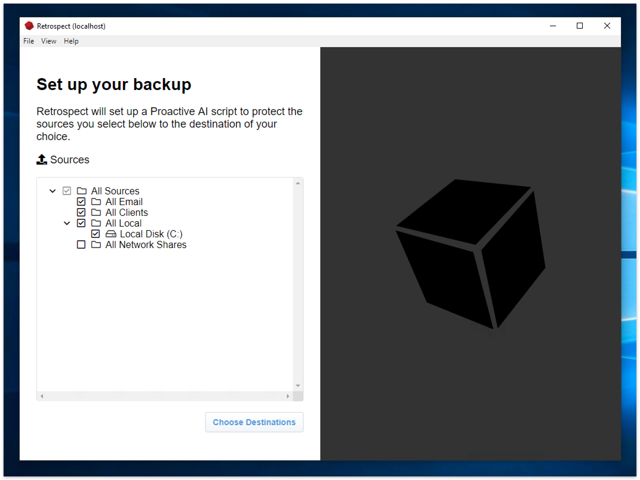 Desktop console preview win 2 setup backup