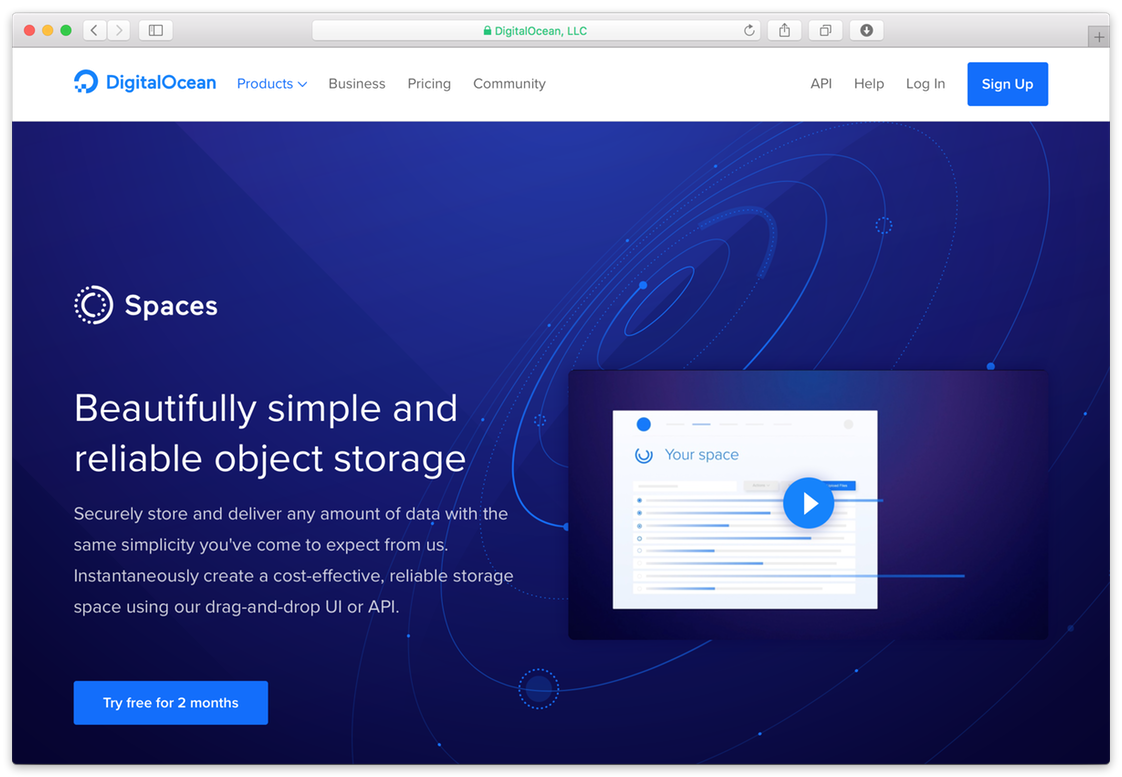 Digitalocean spaces homepage