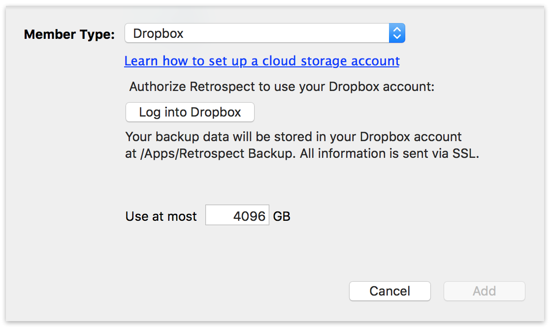 Cloud backup settings mac dropbox