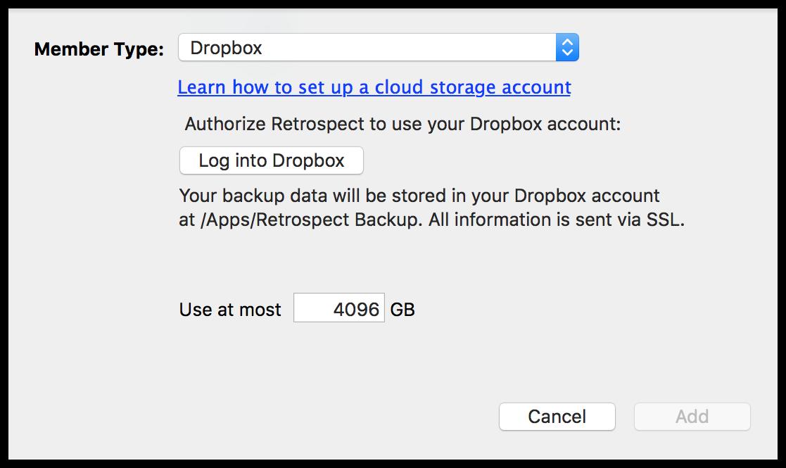 Cloud backup settings mac dropbox
