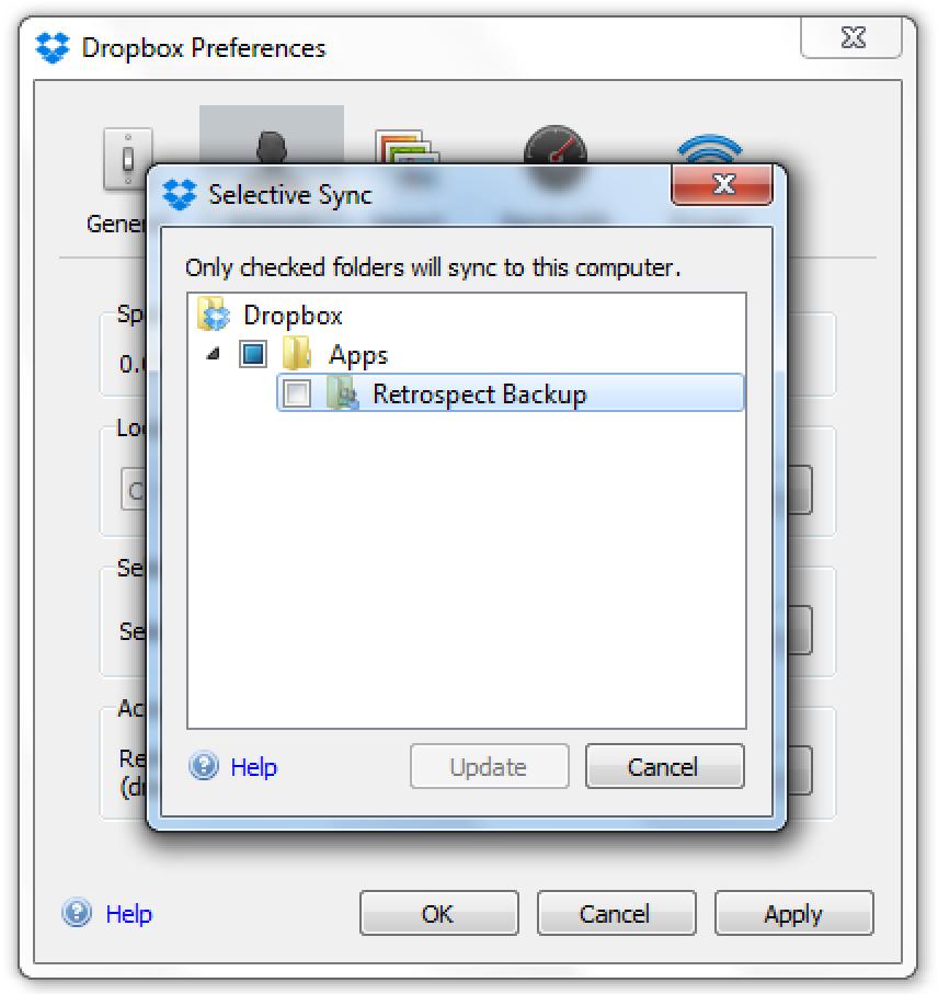 Dropbox exclude apps retrospect.win