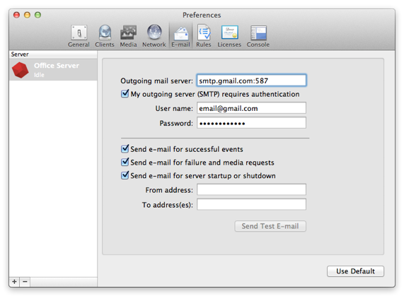 Email mac preferences