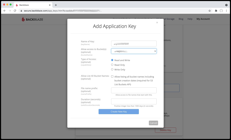 Immutable backblaze 4 key