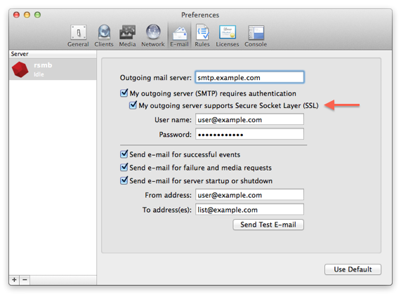 Kb email ssl checkbox mac
