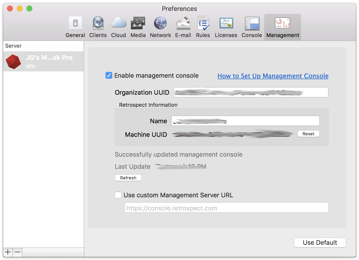 Management console prefs mac