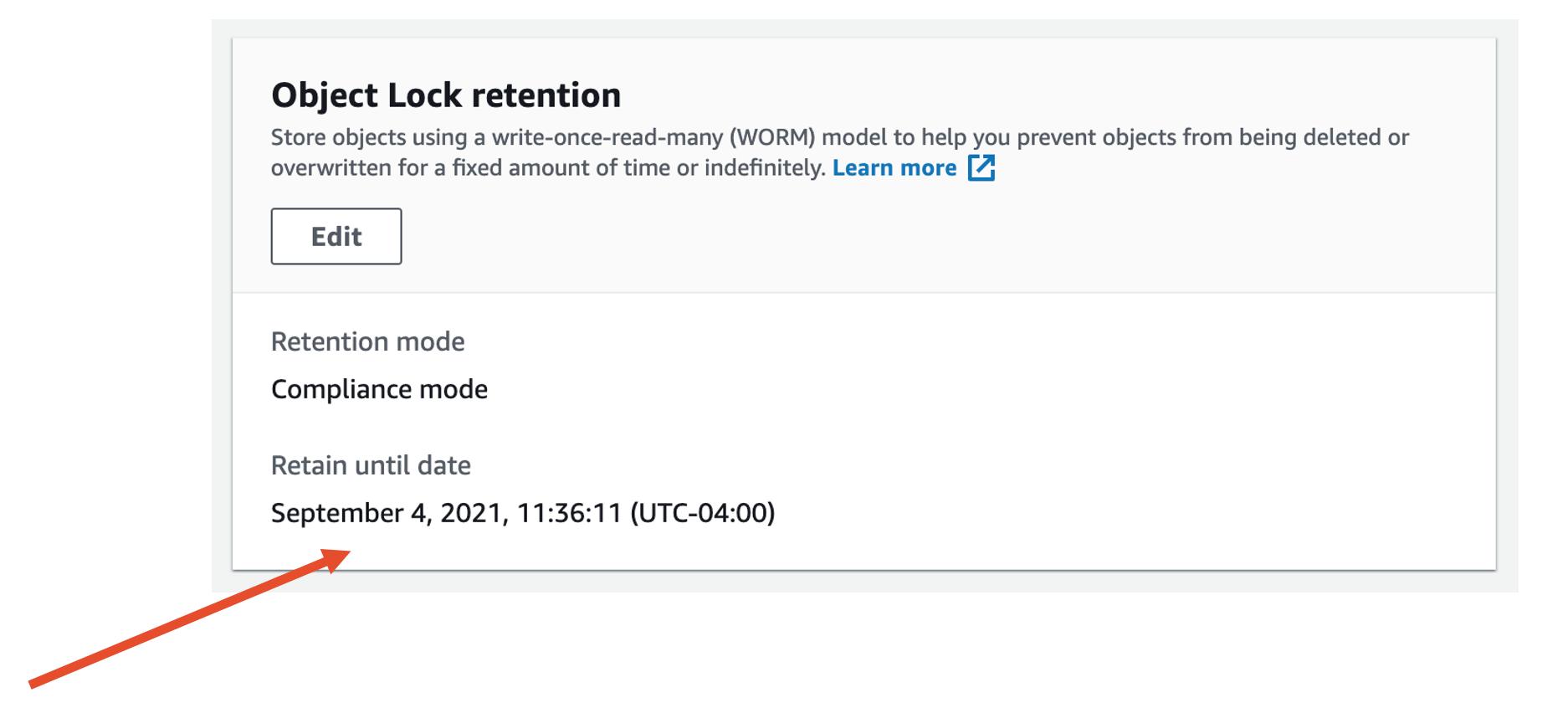 Object lock retain s3