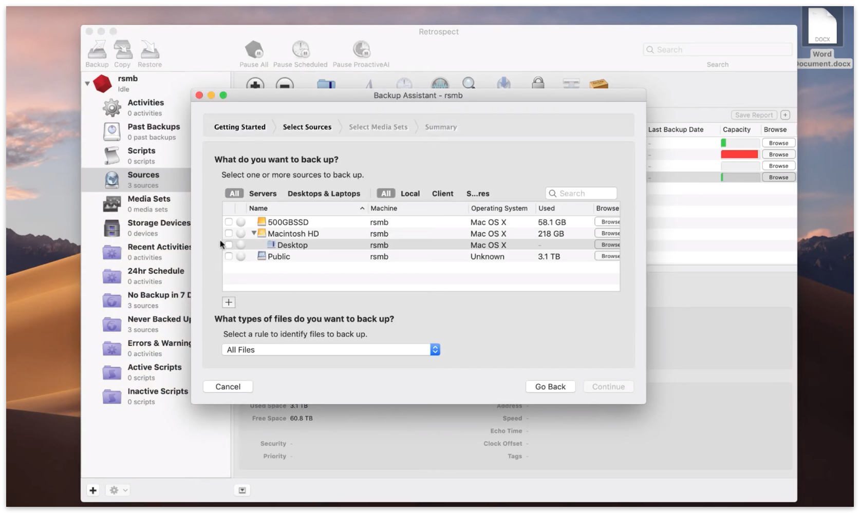 Quick start mac 3 backup assistant sources