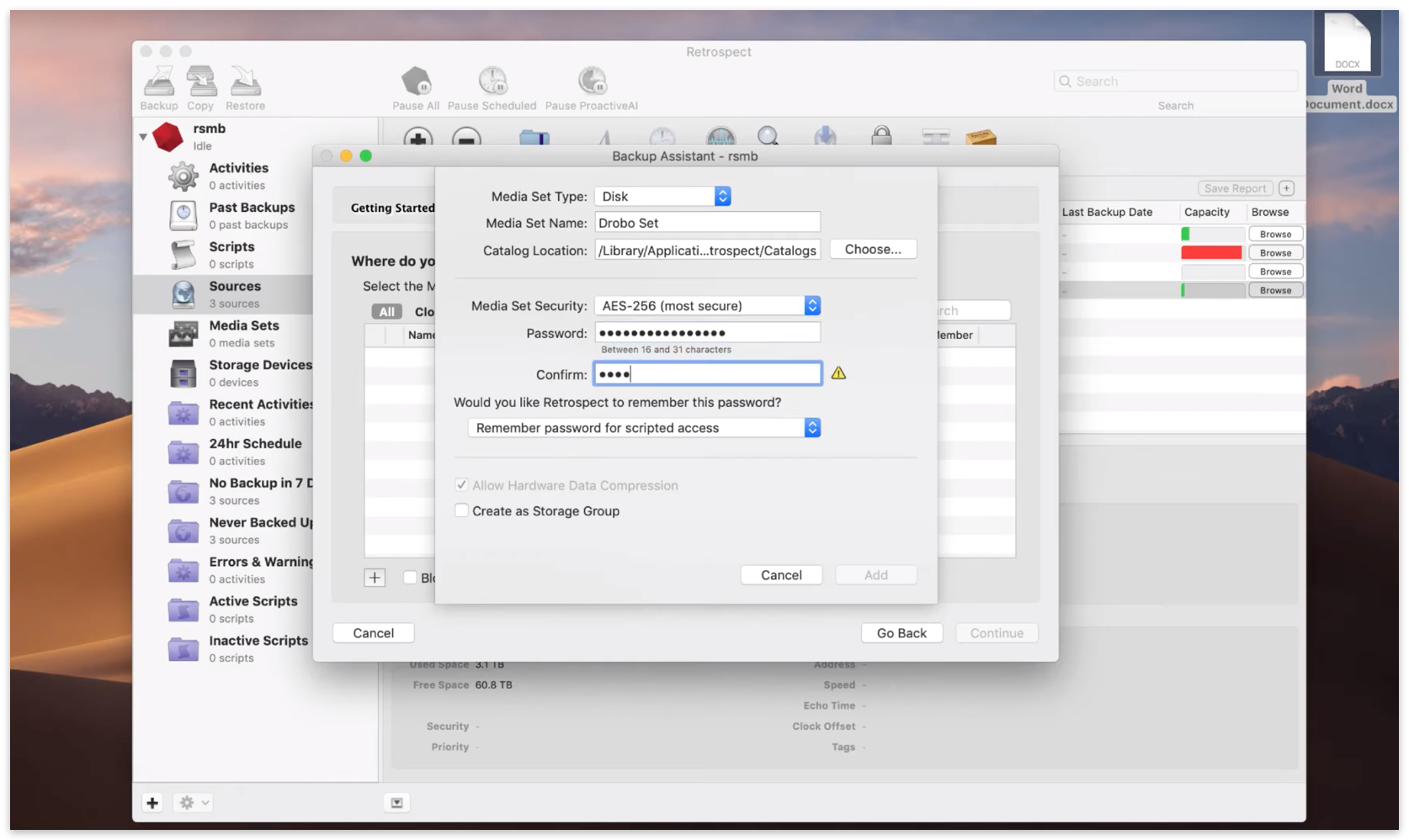 Quick start mac 5 backup set encryption