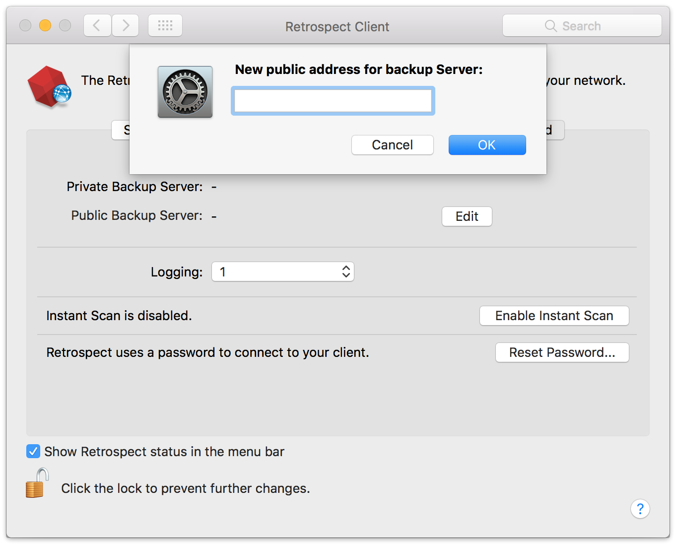 Remote backup client mac